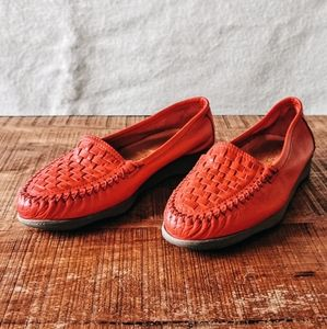70s Famolare Italian Red Woven Leather Flats